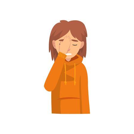 Junge Frau, die ihr Gesicht mit der Hand bedeckt, Das Mädchen, das Facepalm-Geste, Scham, Kopfschmerzen, Enttäuschung, negative Emotion-Vektor-Illustration auf weißem Hintergrund macht. Vektorgrafik