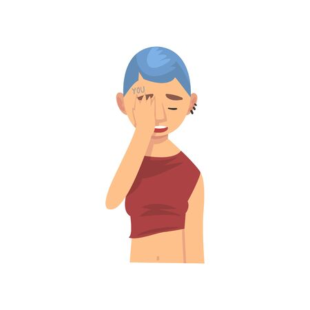 Young Woman with Short Haircut Covering Her Face with Hand, Girl Making Facepalm Gesture, Shame, Headache, Disappointment, Negative Emotion Vector Illustration on White Background. Illustration