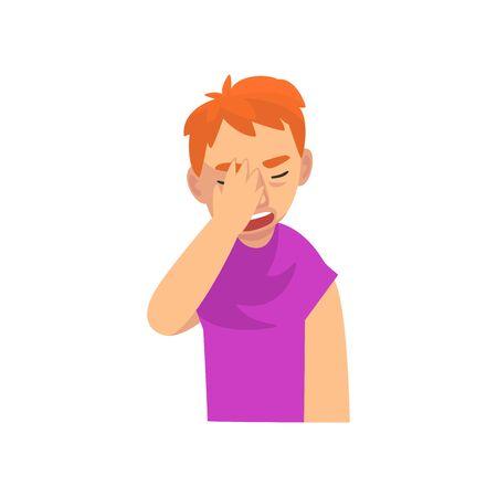 Malheureux jeune homme couvrant son visage avec la main, Guy faisant le geste de Facepalm, honte, mal de tête, déception, illustration vectorielle d'émotion négative sur fond blanc.