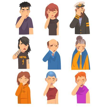 Les gens se couvrent le visage avec les mains, les hommes et les femmes font des gestes facepalm, la honte, les maux de tête, la déception, les émotions négatives Vector Illustration sur fond blanc. Vecteurs