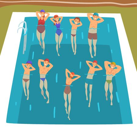 People Doing Water Aerobics Exercises in Swimming Pool, Group Fitness Class Vector Illustration, Cartoon Style.