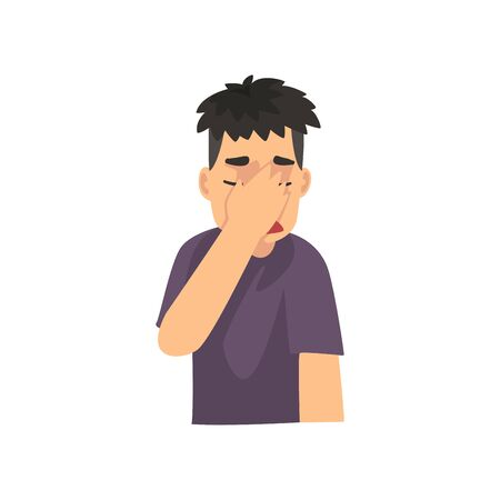Young Man Covering Her Face with Hand, Guy Making Facepalm Gesture, Shame, Headache, Disappointment, Negative Emotion Vector Illustration on White Background.