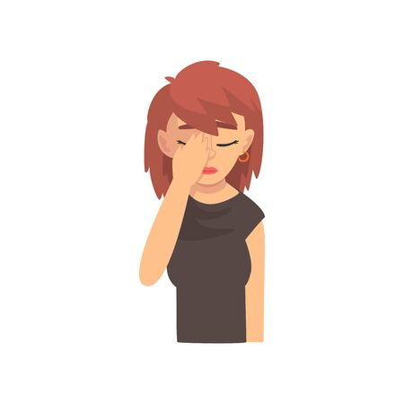 Young Woman Covering Her Face with Hand, Girl Making Facepalm Gesture, Shame, Headache, Disappointment, Negative Emotion Vector Illustration on White Background.