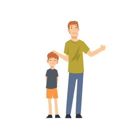 Happy Father and Son Standing Together Cartoon Vector Illustration on White Background. Banque d'images - 128164997