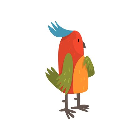 Cute Funny Bird Cartoon Character with Bright Colorful Feathers and Tuft Vector Illustration on White Background.