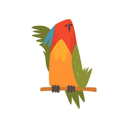 Cute Bird Napping on while Sitting on Perch, Funny Birdie Cartoon Character with Bright Colorful Feathers and Tuft Vector Illustration on White Background.