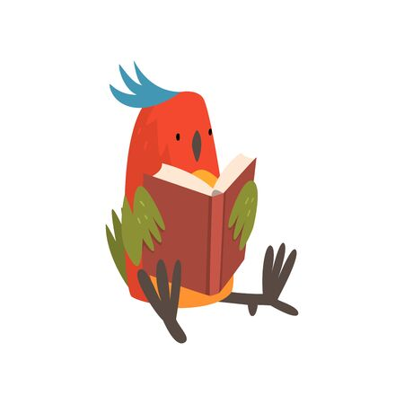Cute Bird Sitting and Reading Book, Funny Birdie Cartoon Character with Bright Colorful Feathers and Tuft Vector Illustration on White Background. Illustration