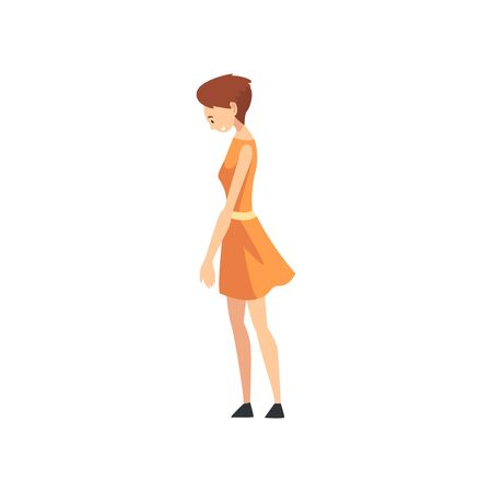 Beautiful Woman Wearing Dress with Short Haircut Cartoon Vector Illustration on White Background. Stock Illustratie
