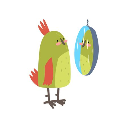 Cute Bird Lookig at Mirror, Funny Birdie Cartoon Character with Bright Green Feathers Vector Illustration on White Background.