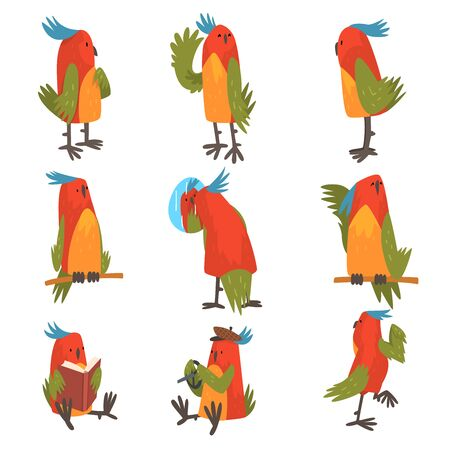 Funny Bird Cartoon Character in Different Situations Set, Cute Birdie with Bright Colorful Feathers and Tuft Vector Illustration on White Background.
