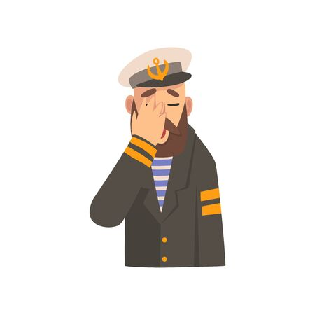 Bearded Man Covering His Face with Hand, Captaing Character in Blue Uniform Making Facepalm Gesture, Shame, Headache, Disappointment, Negative Emotion Vector Illustration on White Background.