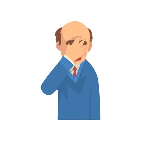 Businessman Covering His Face with Hand, Bald Man in Suit Making Facepalm Gesture, Shame, Headache, Disappointment, Negative Emotion Vector Illustration on White Background.