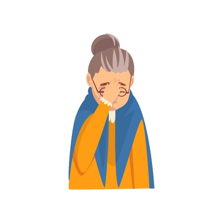 Senior Woman Covering Her Face with Hand, Grandma Making Facepalm Gesture, Shame, Headache, Disappointment, Negative Emotion Vector Illustration on White Background.