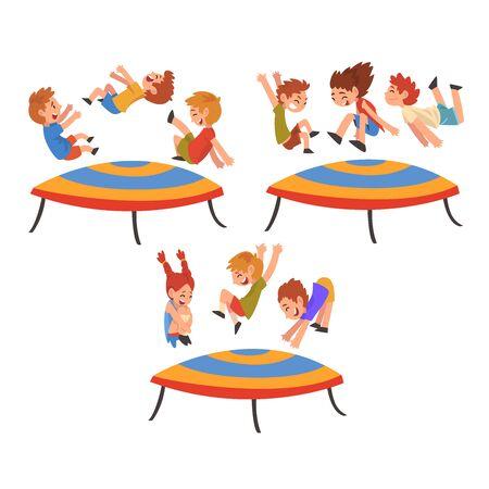 Niños felices saltando en el trampolín, sonrientes niños y niñas rebotando y divirtiéndose ilustración vectorial de dibujos animados sobre fondo blanco.