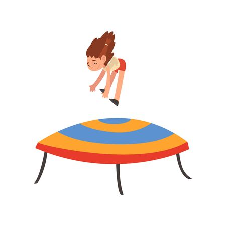 Happy Girl Jumping on Trampoline, Smiling Little Kid Bouncing and Having Fun on Trampoline Cartoon Vector Illustration on White Background. Çizim