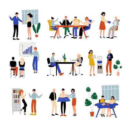 Business People Working in Office Set, Colleagues Working Together, Giving Presentation, Discussing, Communication Between Coworkers, Friendly Environment Vector Illustration