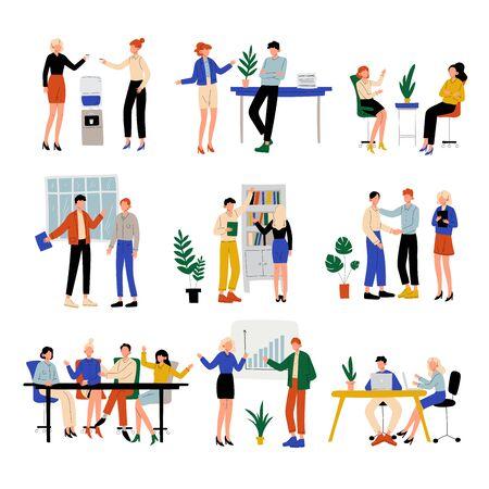 Geschäftsleute, die im Büro arbeiten, Kollegen, die zusammenarbeiten, Kommunikation zwischen Mitarbeitern, freundliche Umgebung, Unternehmenskultur-Vektor-Illustration