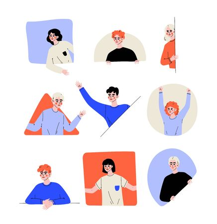 People Looking Out of Different Shaped Windows Set, Young Men and Women Peeping Vector Illustration
