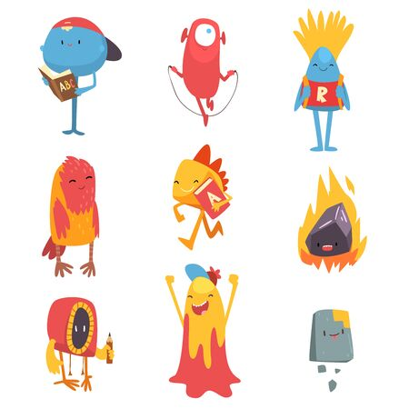 Adorable Freaky Monsters Set, Funny Friandly Colorful Aliens Cartoon Characters Vector Illustration on White Background.