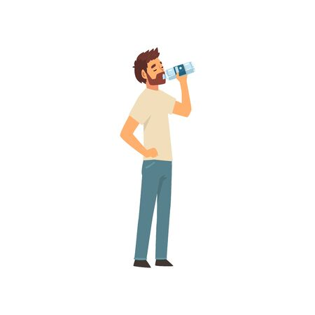 Bearded Young Man Drinking Water from Plastic Bottle, Guy in Casual Clothes Enjoying Drinking of Fresh Clean Water Vector Illustration Çizim