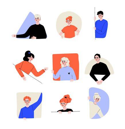 Personnes à la recherche d'un ensemble de fenêtres de formes différentes, jeunes hommes et femmes lorgnant derrière les murs Illustration vectorielle Vecteurs