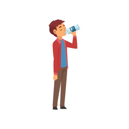 Boy Drinking Water from Plastic Bottle, Kid Enjoying Drinking of Fresh Clean Water Vector Illustration on White Background.