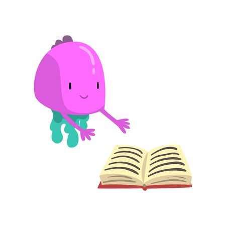 Cute Purple Freaky Monster with Book, Funny Friendly Alien Cartoon Character Vector Illustration on White Background. Ilustrace