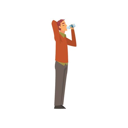 Young Man Drinking Water from Plastic Bottle, Guy Enjoying Drinking of Fresh Clean Water Vector Illustration on White Background.