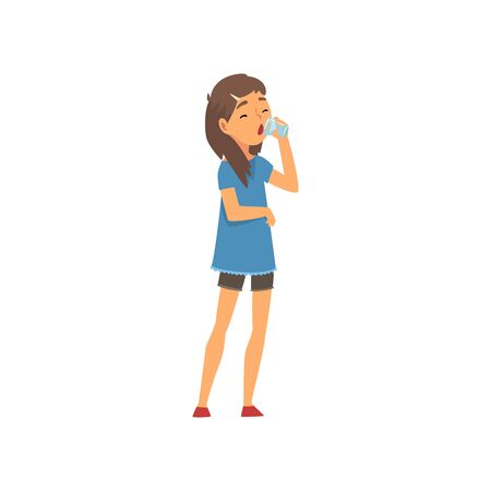 Girl Drinking Glass of Water, Kid Enjoying Drinking of Fresh Clean Water Vector Illustration on White Background.