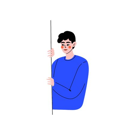Young Man Peeping from Behind the Wall Vector Illustration on White Background.