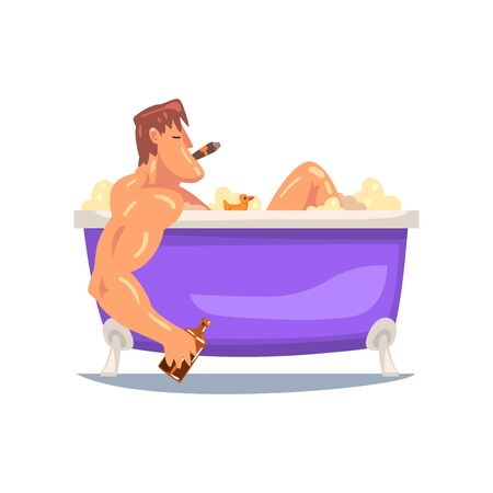Funny Muscular Man Taking Bath, Male Character Relaxing in Bathtub Full of Foam, Smoking Cigar and Drinking Whiskey Vector Illustration on White Background.