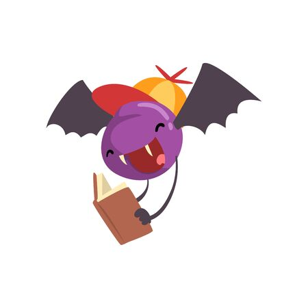 Cute Freaky Monster, Funny Bat Cartoon Character Reading Book Vector Illustration on White Background.