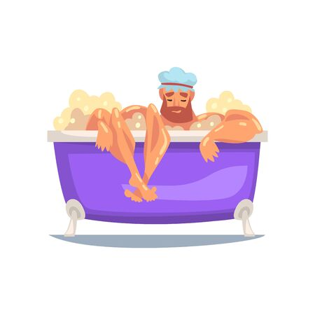 Funny Muscular Man Shower Cap Taking Bath, Male Character Relaxing in Bathtub Full of Foam Vector Illustration on White Background. 矢量图像