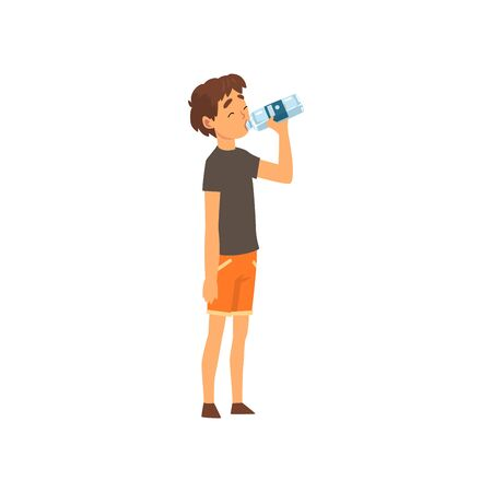 Cute Boy Drinking Water from Plastic Bottle, Kid Enjoying Drinking of Fresh Clean Water Vector Illustration on White Background.