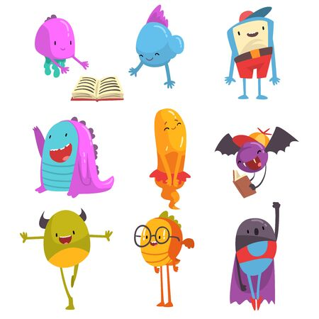 Cute Friendly Freaky Monsters Set, Funny Colorful Aliens Cartoon Characters Vector Illustration Illustration