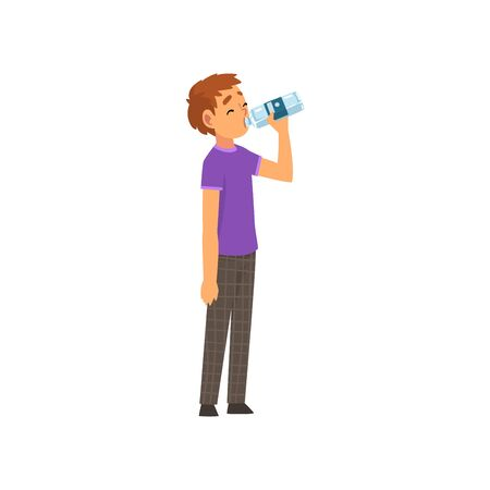 Boy Drinking Water from Plastic Bottle Vector Illustration on White Background.