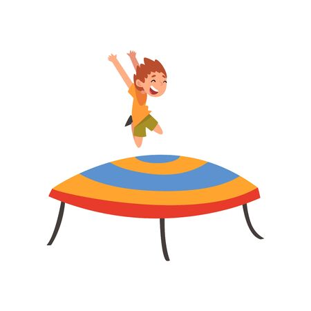 Cute Boy Jumping on Trampoline, Happy Little Kid Bouncing and Having Fun on Trampoline Cartoon Vector Illustration on White Background. Ilustracja