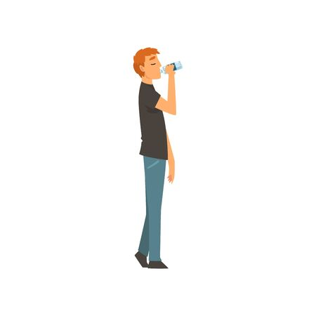 Young Man Drinking Fresh Clean Water from Plastic Bottle Vector Illustration on White Background. Illustration