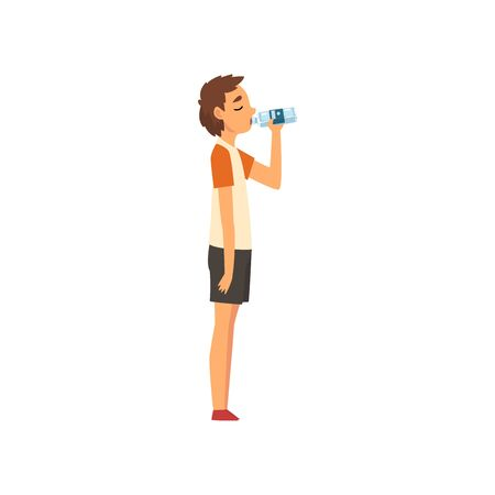 Teen Boy Drinking Water from Plastic Bottle, Kid Enjoying Drinking of Fresh Clean Water Vector Illustration on White Background.