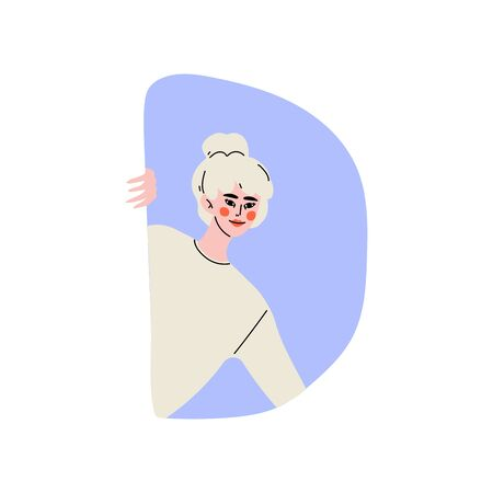 Blonde Young Woman Looking Out of Window Vector Illustration