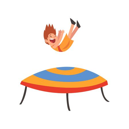 Happy Boy Jumping on Trampoline, Smiling Little Kid Bouncing and Having Fun on Trampoline Cartoon Vector Illustration on White Background. Ilustração