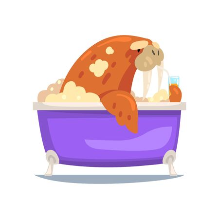 Walrus Taking Bath, Funny Animal Cartoon Character Relaxing in Bathtub Full of Foam Vector Illustration on White Background. Illustration