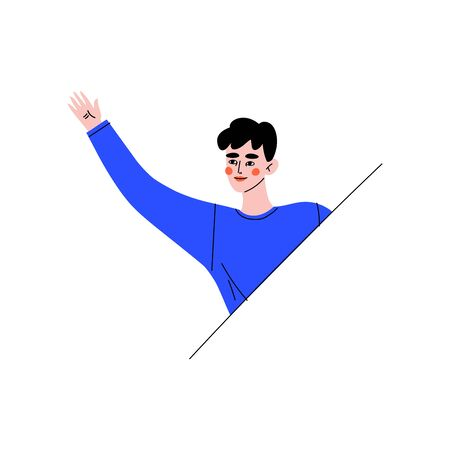 Young Brunette Woman Looking Out From Behind Barrier and Waving His Hand Vector Illustration on White Background.  イラスト・ベクター素材