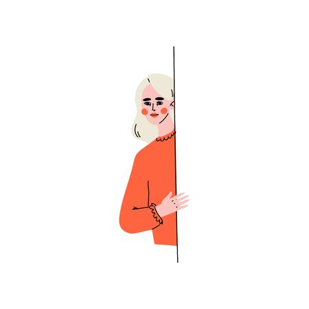 Young Blonde Woman Peeping from Behind the Wall Vector Illustration on White Background.