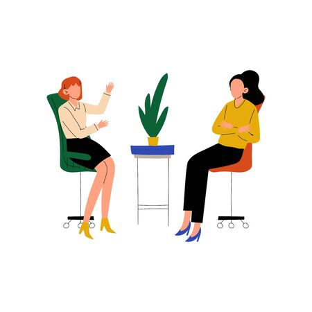 Colleagues Talking and Discussing in Office, Friendly Environment, Corporate Culture, Communication Between Coworkers Vector Illustration on White Background. Foto de archivo - 128165077
