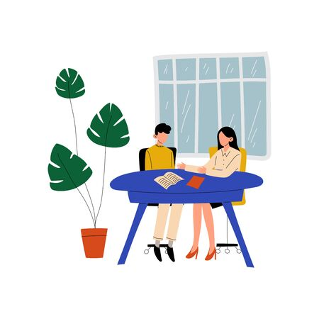 Two Business Woman Sitting at Desk and Talking, Colleagues Working Together in Office, Communication Between Coworkers Vector Illustration on White Background.