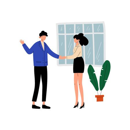 Businessman and Businesswoman Shaking Hands, People Working Together in Office, Communication Between Coworkers Vector Illustration on White Background.