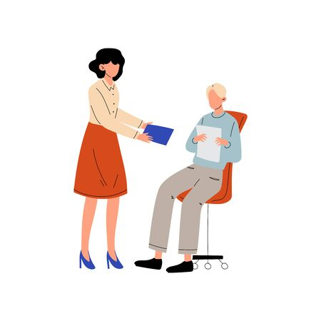 Girl Giving Paper Documents to Man who Sitting on Chair, Colleagues Working Together in Office, Communication Between Coworkers Vector Illustration on White Background.