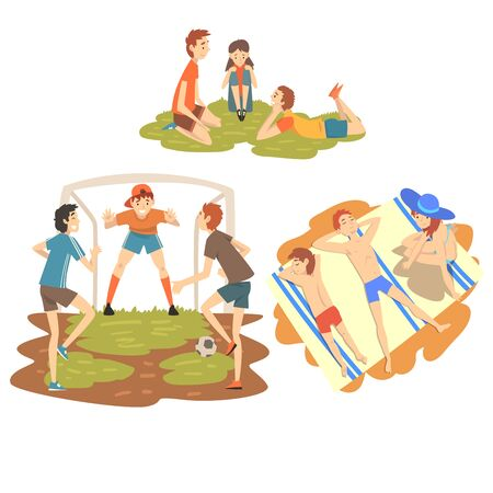 People Enjoying Summer Vacations Set, Happy Boys Playing Soccer on Sport Field, Family Sunbathing on Beach, Boys Resting on Grass Vector Illustration on White Background.