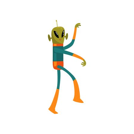 Funny Green Alien, Humanoid Cartoon Character with Big Eyes Oval Shape and Small Antenna Wearing Space Suit Banque d'images - 125985592